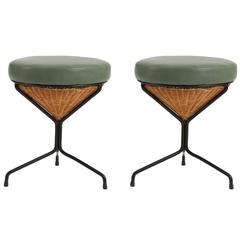 Danny Ho Fong for Tropi-Cal Wicker Iron and Leather Stools