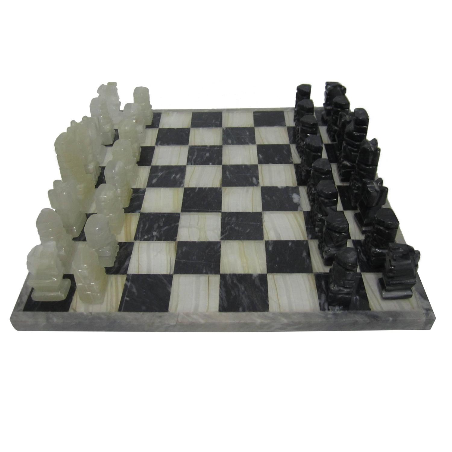 Vintage Modern Black And White Marble And Onyx Chess Set