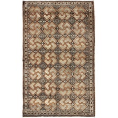 Fine Turkish Sivas Rug with swastika in Brown and Cream Colors