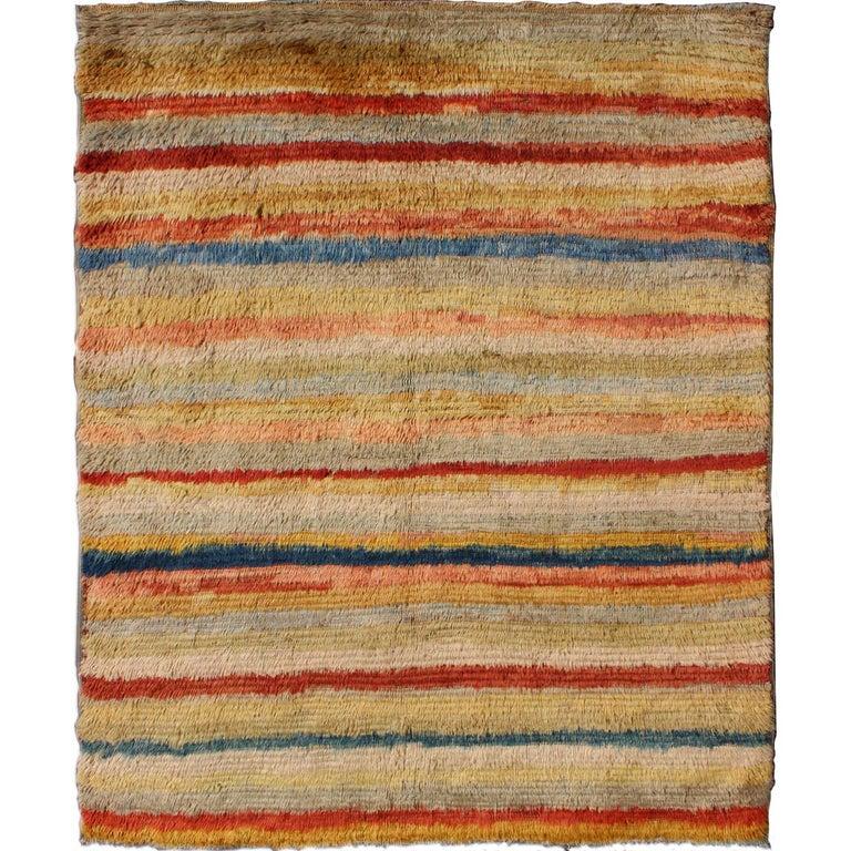 Vintage Turkish Tulu Rug with Stripes For Sale