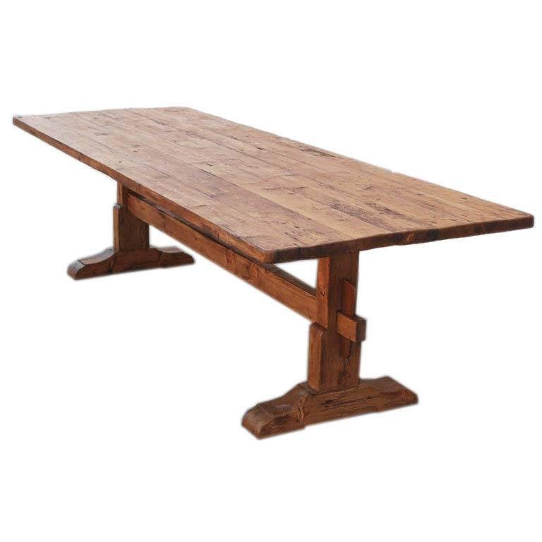 Trestle table in vintage pine for sale at 1stdibs for Pine dining room table