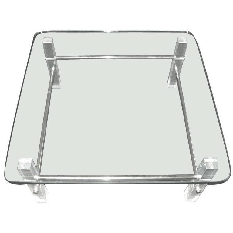 Square Lucite And Glass Cocktail Table For Sale At 1stdibs