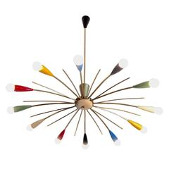 Multi-Color Mid-Century Stilnovo Style 12-Arm Sputnik Chandelier, Italy