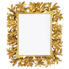 Large Murano Glass Gold Leaf Brass Mirror