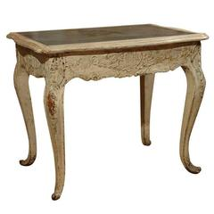 French Low Table with Slate Top and Cabriole Legs