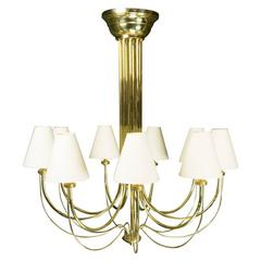 French 1960s Nine-Arm Brass Chandelier