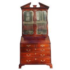 English Mahogany Secretary With Mirrored Bookcase. Circa 1780