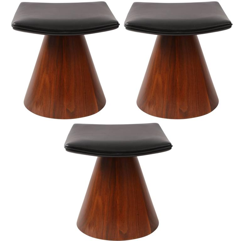 William Keyser Walnut and Leather Pedestal Stools, 1969 For Sale