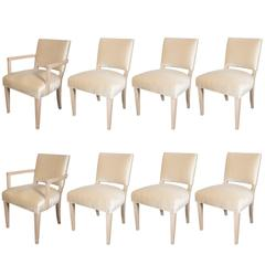 Eight Dining Chairs in White Oak by Schmieg & Kotzian, Attributed Dorothy Draper