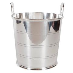 Handsome English Art Deco Silver-Plate Ice Bucket with Stylized Handles