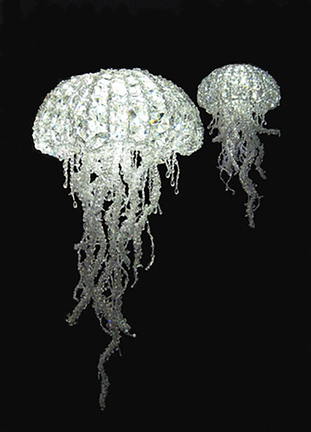 2010 Handmade Crystal Jellyfish Led Light Chandelier By