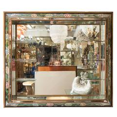 Hollywood Regency Shadow Box Wall Mirror with Glass Display Shelves