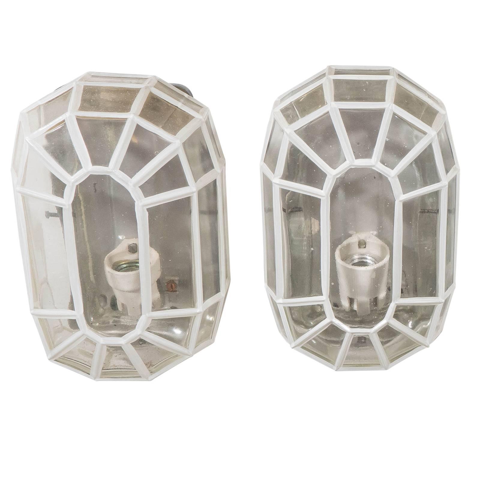 Pair of Glashütte Limburg Faceted Glass Sconces