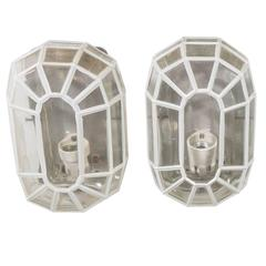 Pair of Glashütte Limburg Faceted Glass Sconces