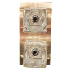 Peill & Putzler Glass Cube Wall Sconce on Brass