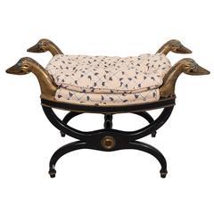 Regency Style Curule Bench with Swan Motif
