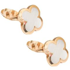 Van Cleef & Arpels 'Alhambra' Cufflinks in 18-Karat Gold and Mother-of-Pearl