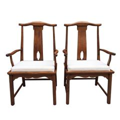 Pair of Asian Style Hardwood Side Chairs
