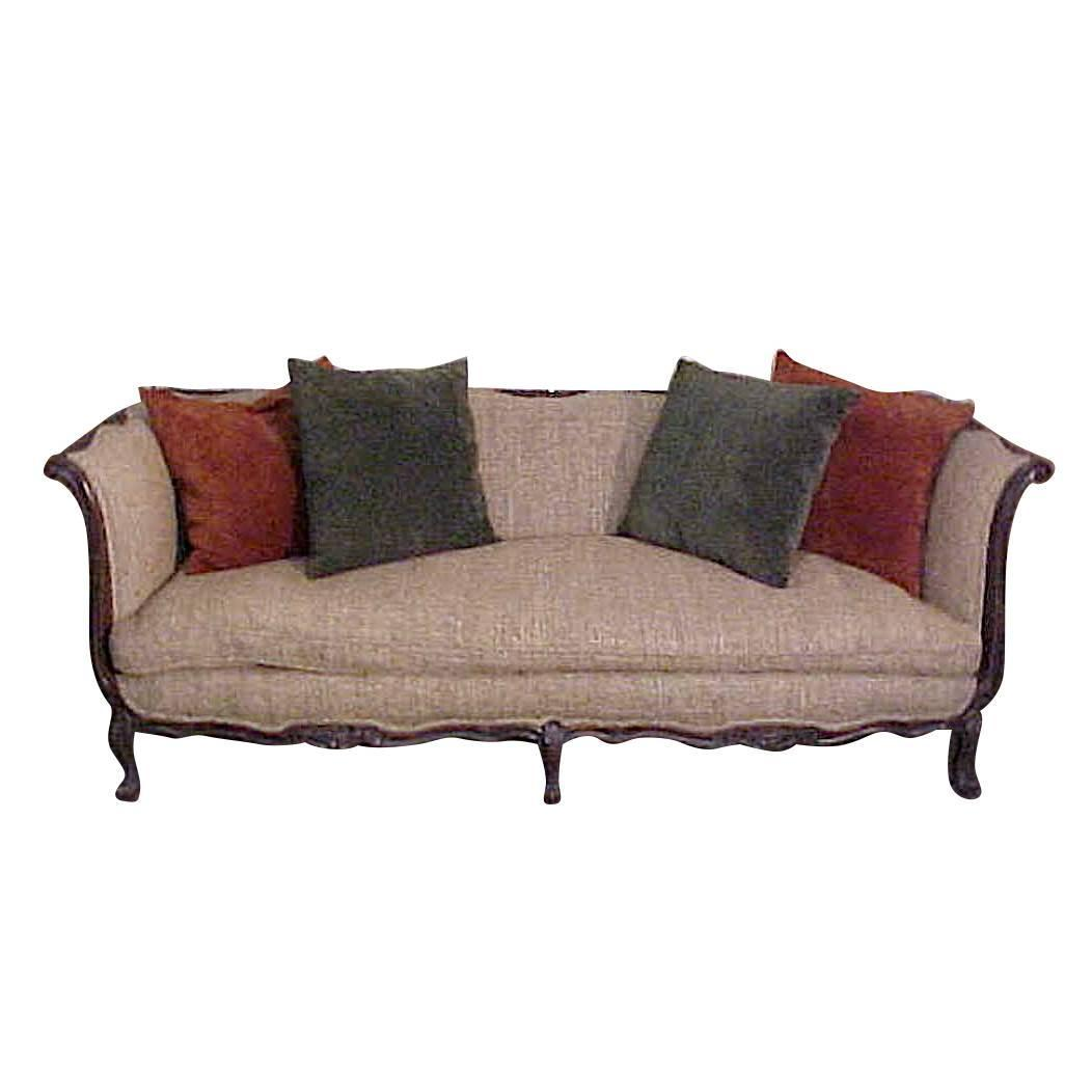 Chic Country French Louis Xv Style Walnut Sofa In Tussah