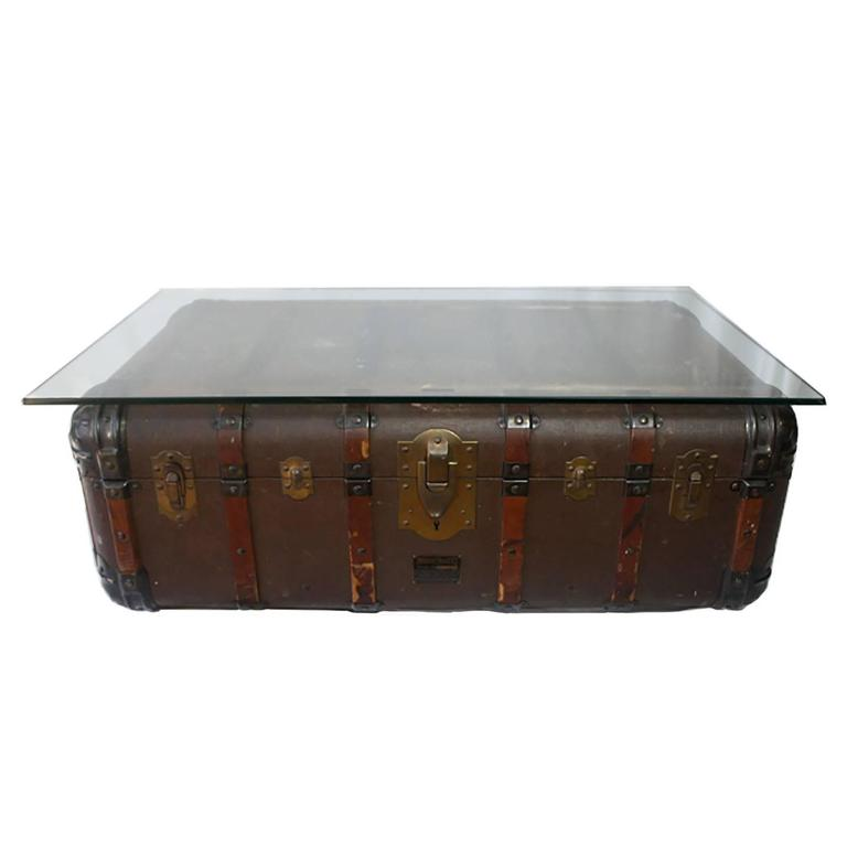 Antique Steamer Trunk Coffee Table/Side Table, Circa 1900