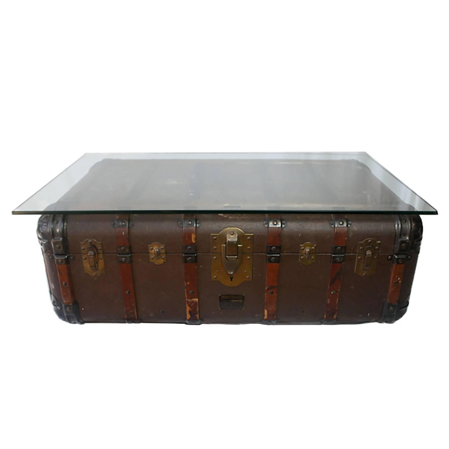 Antique steamer trunk coffee table side table circa 1900 at 1stdibs Trunk coffee tables