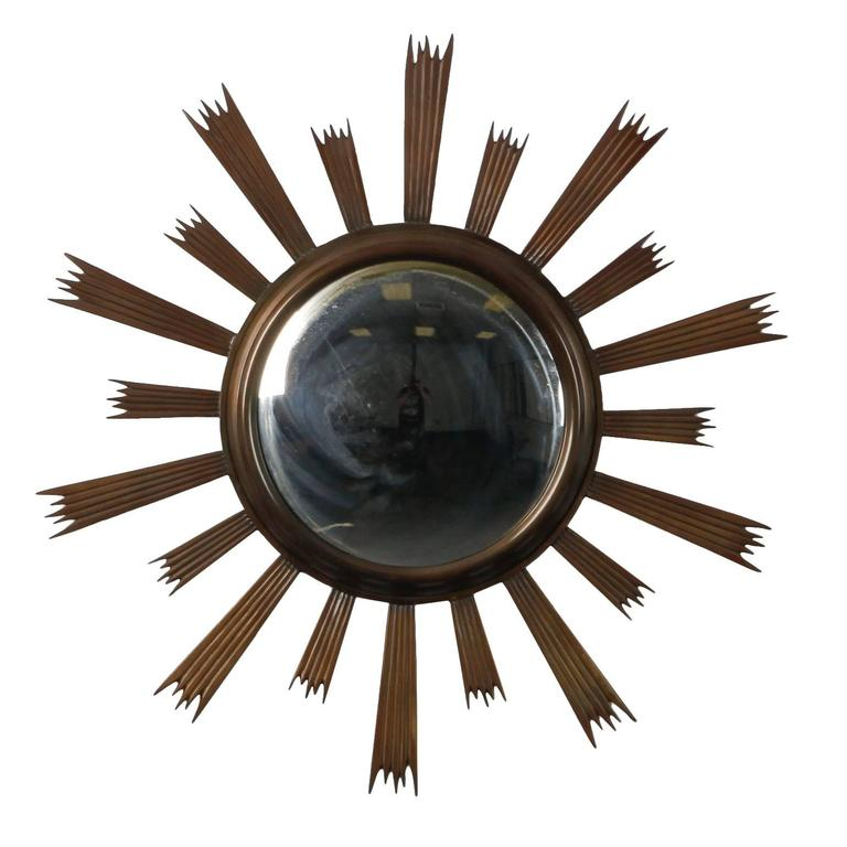 Sunburst Convex Mirror with Dark Metal Frame