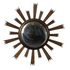 Sunburst Convex Mirror with Dark Metal Frame