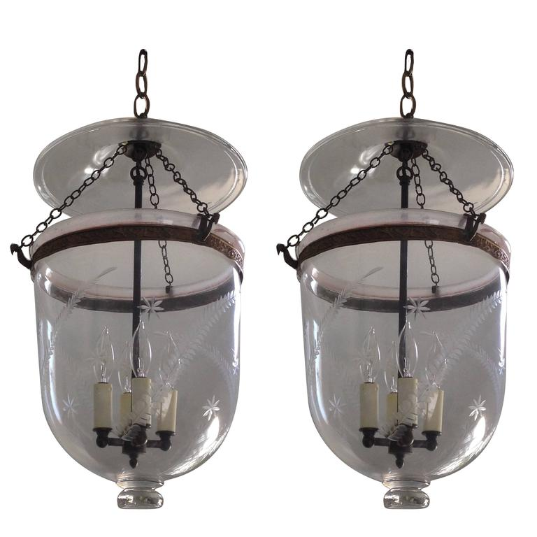 Pair Of Austrian Etched Bell Jar Hall Lanterns Hundis At