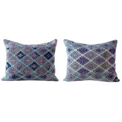 Vintage Textile Pillow Hand woven in Pinks and Blues