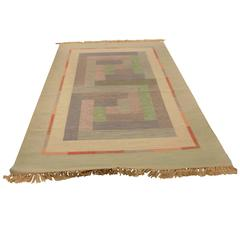 Vintage Hand-Woven Swedish Rug in Pastel Colours