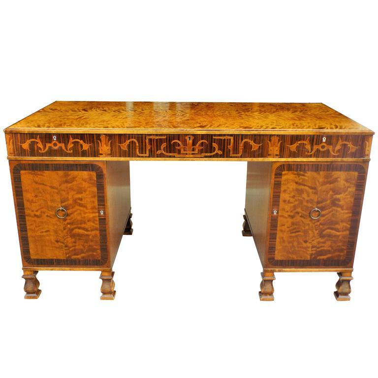 Rare Carl Malmsten Pedestal Desk Swedish Grace Period