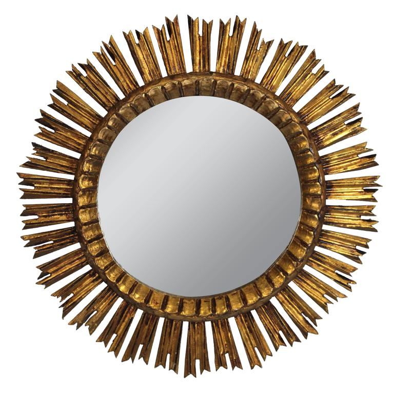 French 1930s Carved Baroque Style Giltwood Sunburst Mirror