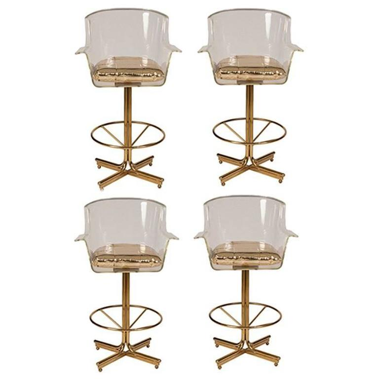 1970s Charles Hollis Jones Lucite and Brass Swivel Bar Stools, Set of Four