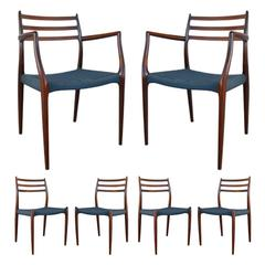 Niels Otto Moller Rosewood Dining Chairs #62 and #78 with Original Cord Seats