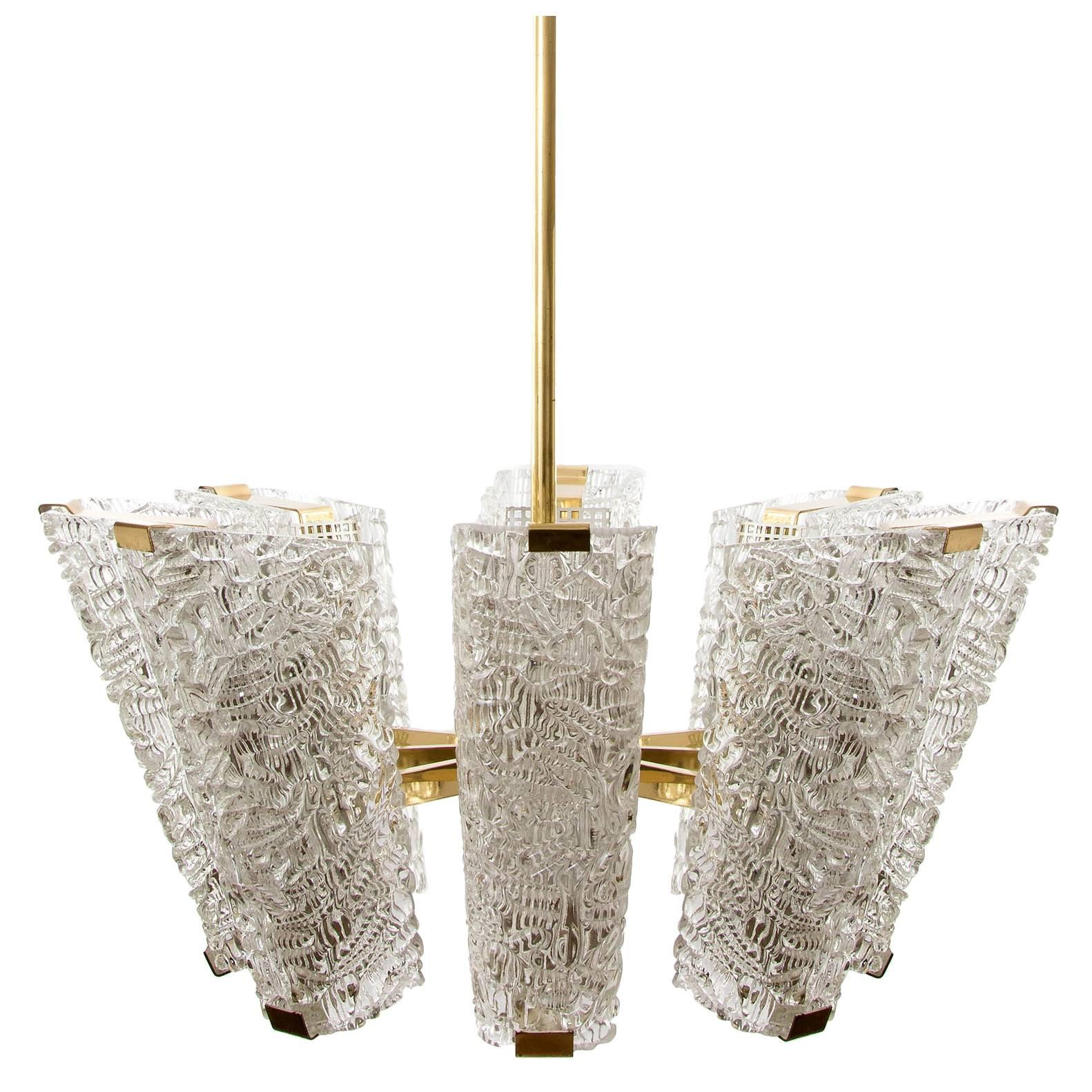 Large Kalmar Chandelier, Brass and Textured Glass, 1950s, 1 of 4