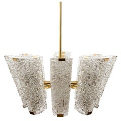 Large Kalmar Chandelier, Brass and Textured Glass, 1950s, 1 of 2
