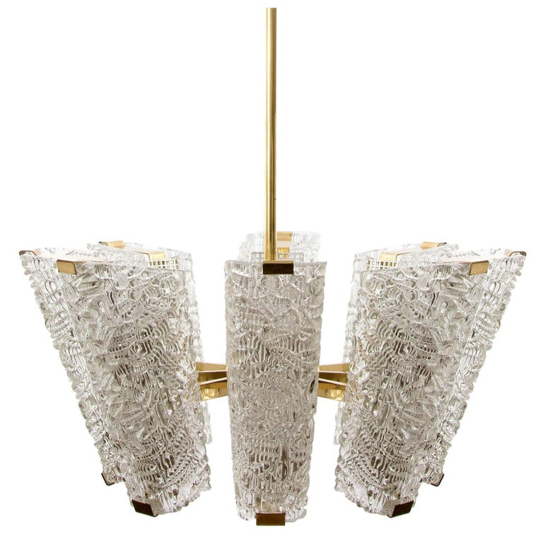 Large Kalmar Chandelier, Brass and Textured Glass, 1950s, 1 of 4 For Sale