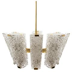 Large Kalmar Chandelier, Brass and Textured Glass, 1950s
