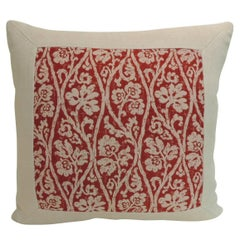 Vintage Hot Pink and Red Hand Blocked Batik Printed Floral Decorative Pillow