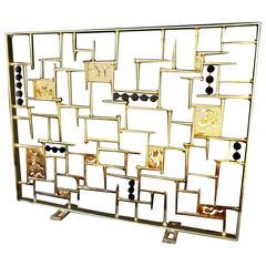 Contemporary 1970s Style Gilded & Blackened Steel Fire Screen by Del Williams