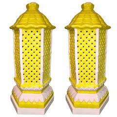 Pair of American Canary Yellow Porcelain Pagoda Trellis Pattern Lamps