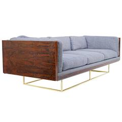 Stunning Milo Baughman Floating Rosewood and Brass Tuxedo Sofa