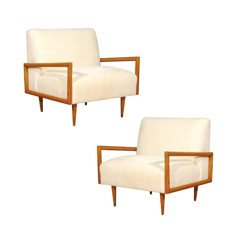 Restored Pair of Maple Cube Loungers in the Style of Paul McCobb