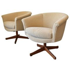 Pair of Round Back Swivel Chairs with Teak Star Base