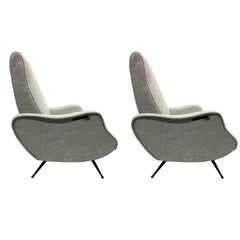 Pair Mid-Century Modern Lounge Chairs / Recliners Style Marco Zanuso, Italy,1950