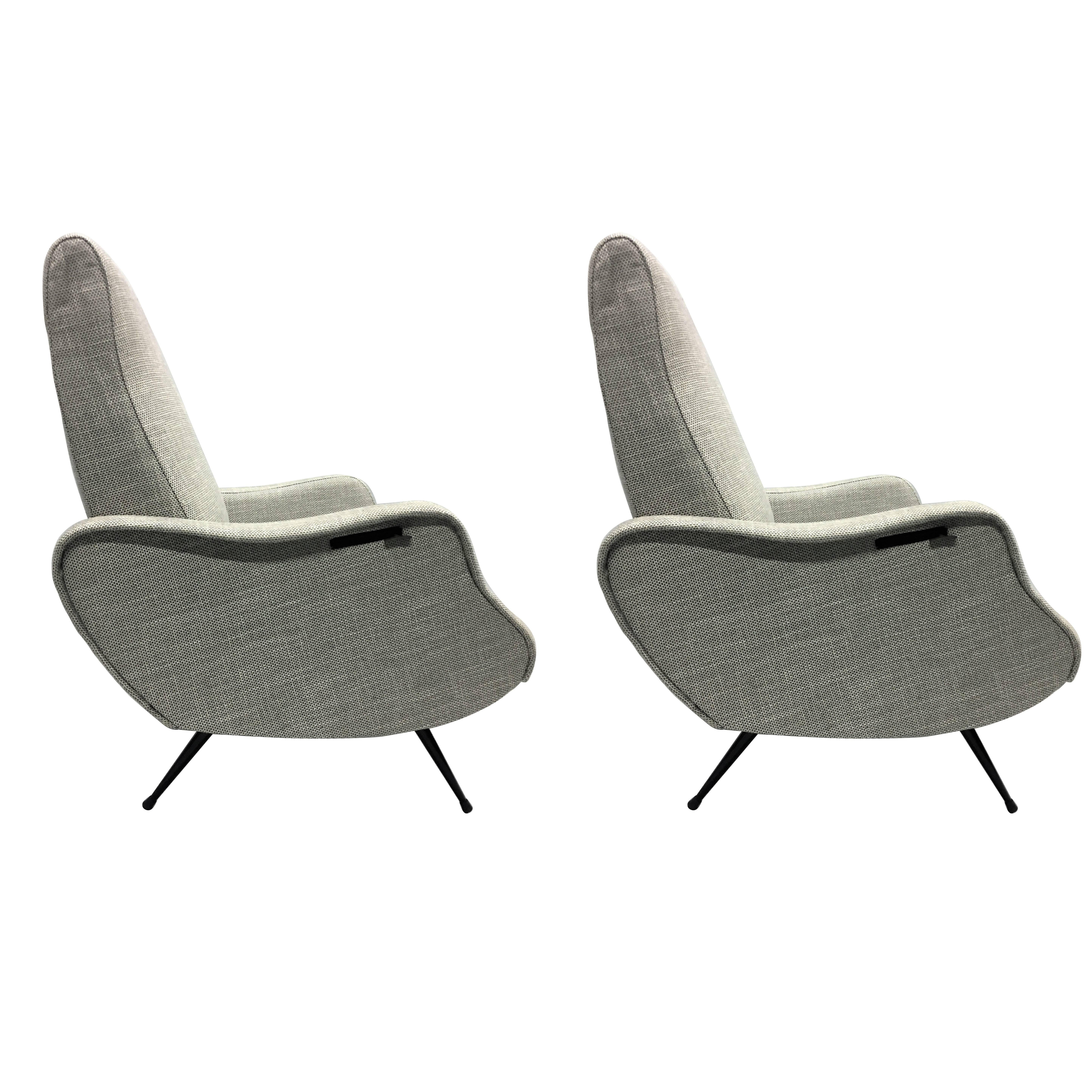 Ordinaire Pair Mid Century Modern Lounge Chairs / Recliners Style Marco Zanuso,  Italy,1950