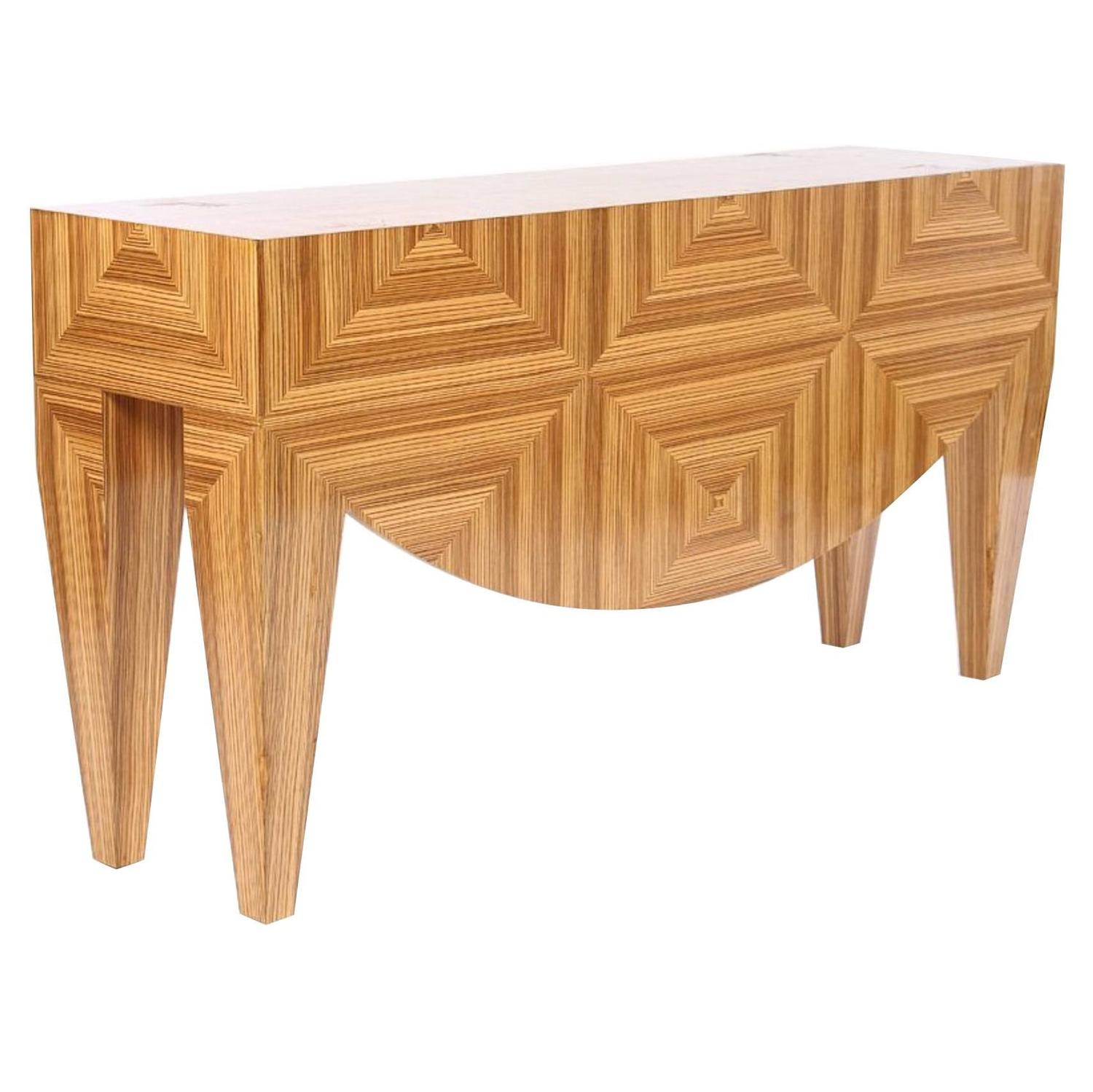Post Modern Exotic Wood Console Table For Sale at 1stdibs