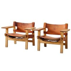 Børge Mogensen 'Spanish Chairs' in Solid Oak and Cognac Leather