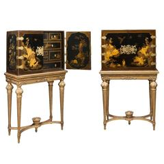 Chinese Gilt Lacquered Cabinet Pair Kangxi Period on Giltwood
