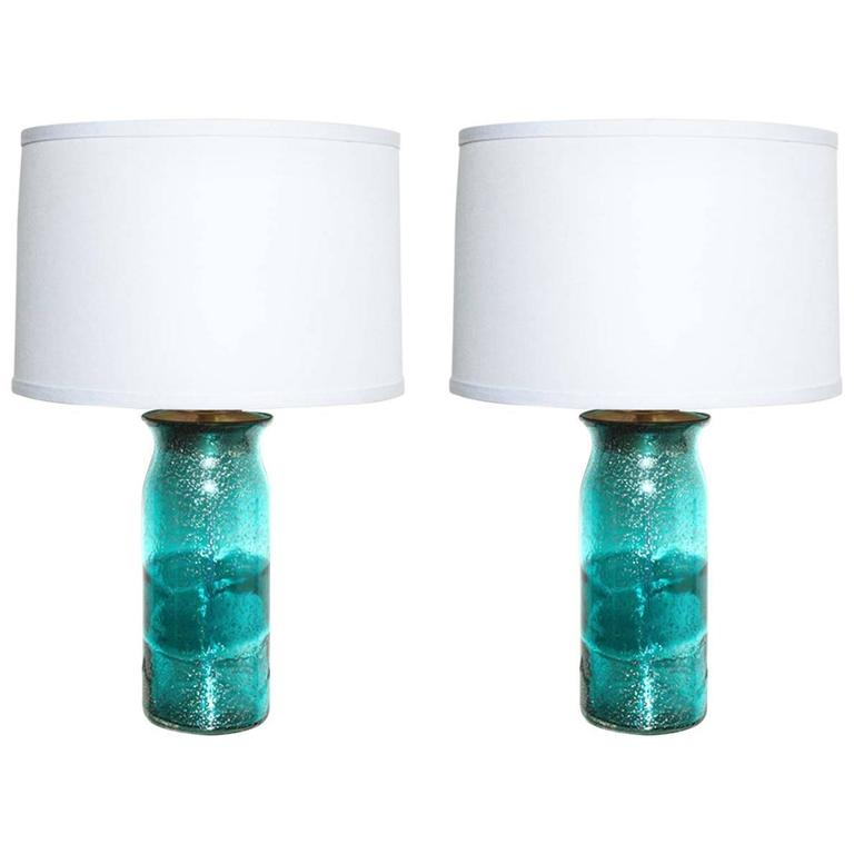 pair of aqua murano glass table lamps for sale at 1stdibs. Black Bedroom Furniture Sets. Home Design Ideas